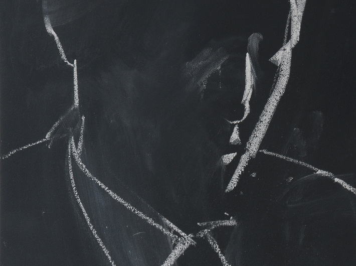 Rafał Bujnowski, //#1//, from the series //Arsonists//, 2013, chalk on board, 41,7 × 31,5 cm