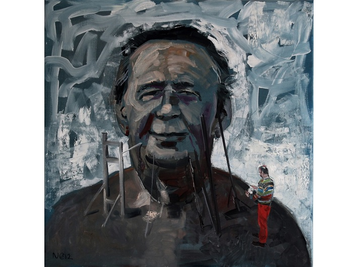 Csaba Nemes, //Father Figure//, 2012, from the series //Father's Name: Csaba Nemes//, oil / canvas, 100 x 100 cm, courtesy of Knoll Galleries Vienna & Budapest