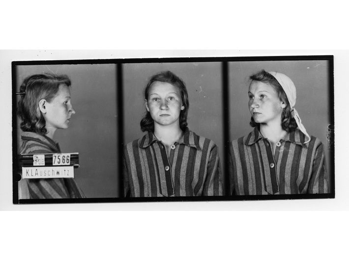 Camp photograph of Zofia Posmysz, 1942, from the Archives of the Auschwitz-Birkenau State Museum